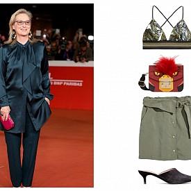 Бюстие H&M; чанта Furla; пола H&M; обувки H&M