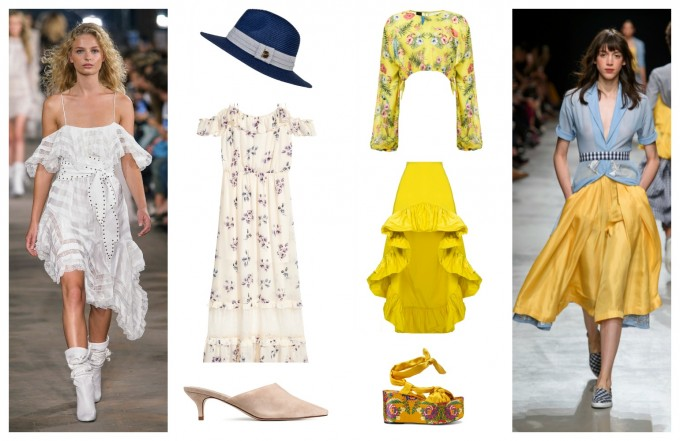 От ляво: Шапка Achilleas Accessories; рокля H&M; чехли H&M Oт дясно: Блуза Pinko; пола Pinko; сандали MANGO