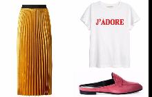 Пола Mango; тишърт H&M; обувки Marc Cain