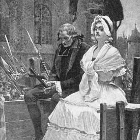 Снимката илюстрира Мария Антоанета на път към гилотината на 16-ти октомври 1793 г.. за да бъде обезглавена. Когато френската кралица била заведена на гилотината, тя била облечена в обикновена бяла рокля, с ненапудрена коса под обикновена шапка - далеч от помпозния си вид, който допринася за лошата ѝ слава. Последната визия на кралицата отново показва таланта ѝ да манипулира собствения си образ.