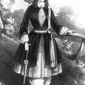 Костюмът на Амелия Блумер от 1851 година е останал в историята като символ на ранните защитници на правата на жените. Елизабет Кейди Стантън и Амелия Блумер обличат обемни панталони, които се връзват на глезена под скъсена пола. Облеклото без корсет, става обект на толкова много публични подигравки, че повечето му привърженички спират да го носят.