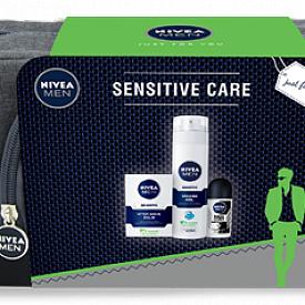 Комплект Sensitive Care на NIVEA: гел за бръснене, балсам за след бръснене, рол-он и несесер