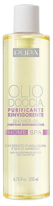 Purifying Reinvigorating Shower Oil от PUPA е с екстракт от кафяво водорасло и масла от бадем, портокал, бергамот и нероли. Почиства нежно и енергизира. / ELLE съвет: Разтрийте с влажни ръце до получаване на деликатна емулсия и масажирайте върху мократа кожа на тялото. Вдишвайте дълбоко, за да се насладите на благотворния ефект на ароматерапевтичните масла. Изплакнете, редувайки топла и студена вода, за да усетите съживяващия ефект.
