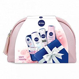 Комплект Soft Touch на NIVEA: шампоан NIVEA Hairmilk Natural Shine, душ-гел  NIVEA Creme Soft, универсален крем NIVEA Care, крем за ръце NIVEA Cherry Blossom & Jojoba oil, дезодорант NIVEA Invisible Black & White Clear и несесер