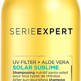 Шампоанът от серията Solar Sublime на L'OREAL PROFESSIONNEL е с професионална формула, обогатена с УВ филтър и алое вера: за нежно измиване на косата, без утежняване