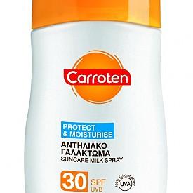 Слънцезащитно мляко - спрей с SPF30 на Carroten