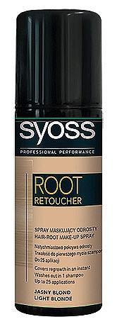 Белите корени може да скриете със SYOSS Root Retoucher – бързосъхнещ спрей, който покрива мигновено корените и сивите коси само с едно натискане, не омазнява, отмива се с шампоан, но е устойчив на дъжд! Не е нужна и особена прецизност, защото евентуални петна върху кожата се измиват, а от текстила се изпират напълно. 9.99 лв.