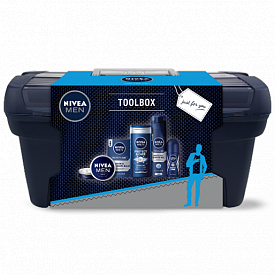 """Комплект """"Кутия с инструменти"""" на NIVEA: универсален крем NIVEA MEN, душ-гел, гел за бръснене, балсам за след бръснене, рол-он и кутия за иструменти"""
