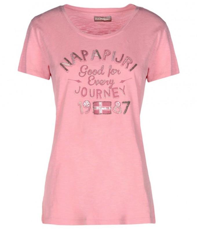 Тениска Napapijri от розов памук с надпис
