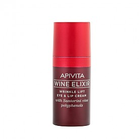 Коригиращият бръчките лифтинг крем за околоочен контур и устни с полифеноли от лозята на Санторини от серията Wine Elixir на APIVITA съдържа 98% натурални съставки. Продуктът възстановява и регенерира деликатните зони около очите и устните, ефикасно се бори с тъмните кръгове под очите и признаците на умора, коригира бръчките, стяга и повдига, оформяйки контура на лицето, защитава кожата от оксидативен стрес и външните агресивни фактори, хидратира и тонизира кожата на около очите.