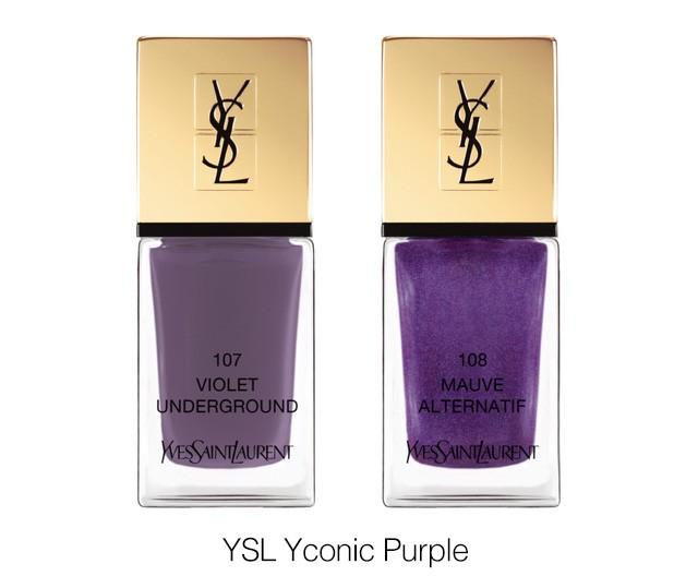 Лакове за нокти от колекцията Yconic Purple на YSL